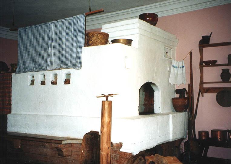 Внутреннее убранство избы Печь была неотъемлемой частью жилища.  Ее складывали из кирпича...  Картинка 40.